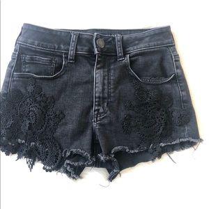 American Eagle Black Frayed Lace Shorts Size 4